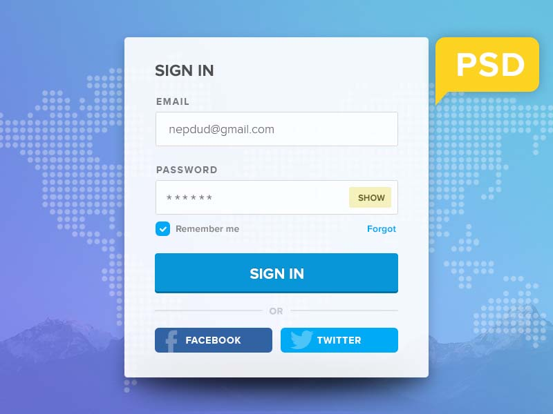 Free Login Form UI PSD