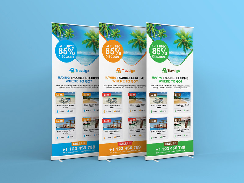 Free Vertical Travel Roll-up Banner Template