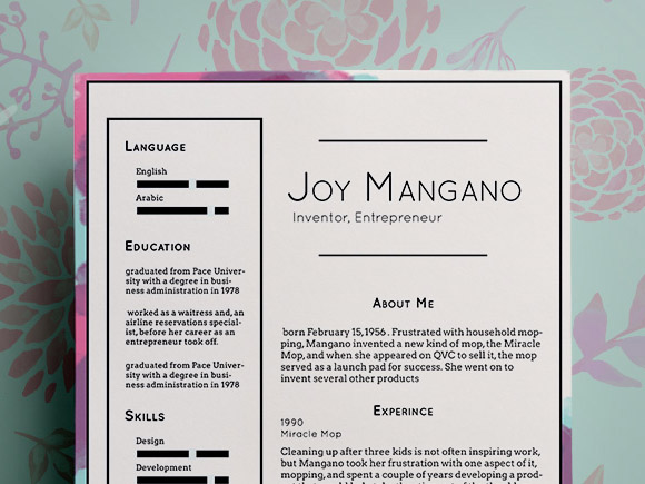 Joy Free PSD Resume Template