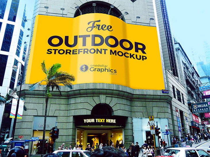Outdoor Storefront Advertising Mockup