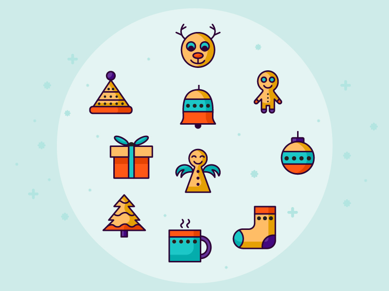 Retro Christmas Icons Set