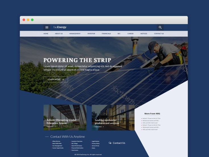 FaoEnergy : Ecology PSD Website Template