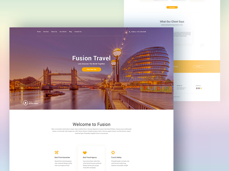 Fusion : Free Travel Agency PSD Template