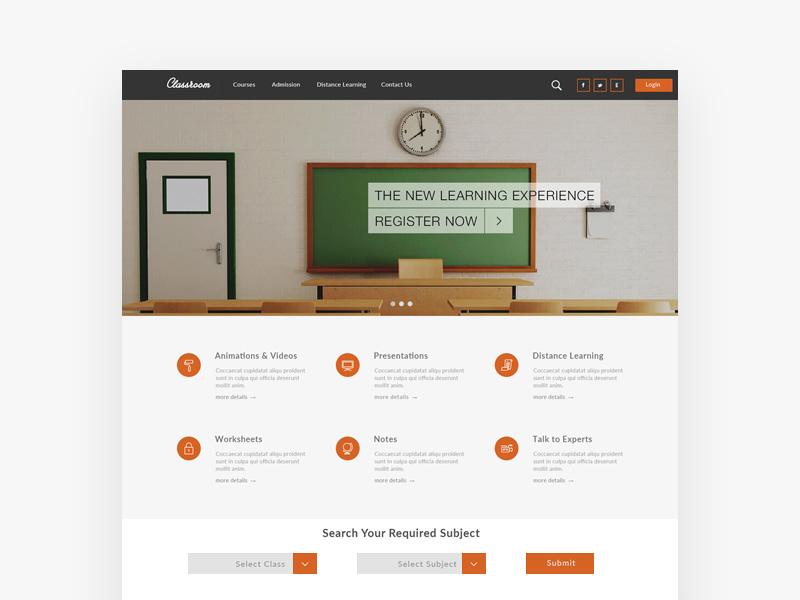 Classroom : Free Education PSD Web Template