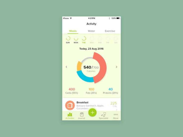 Free Diet Plann App UI PSD