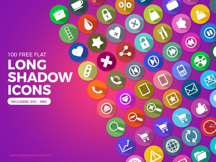 Free Flat Long Shadow Icon Set