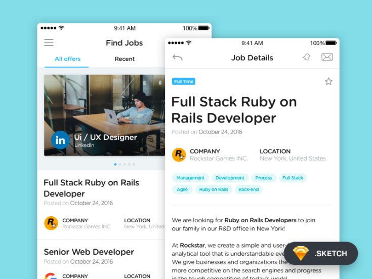 Free Job App UI Design