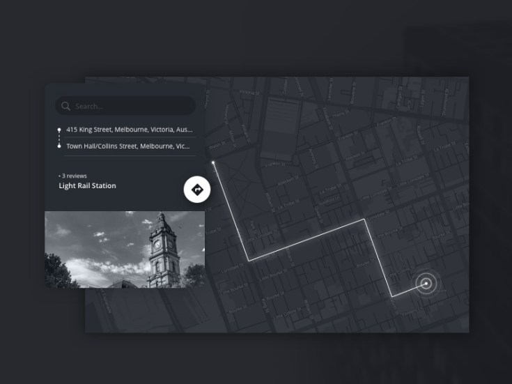 Free Monochromatic Map Widget UI