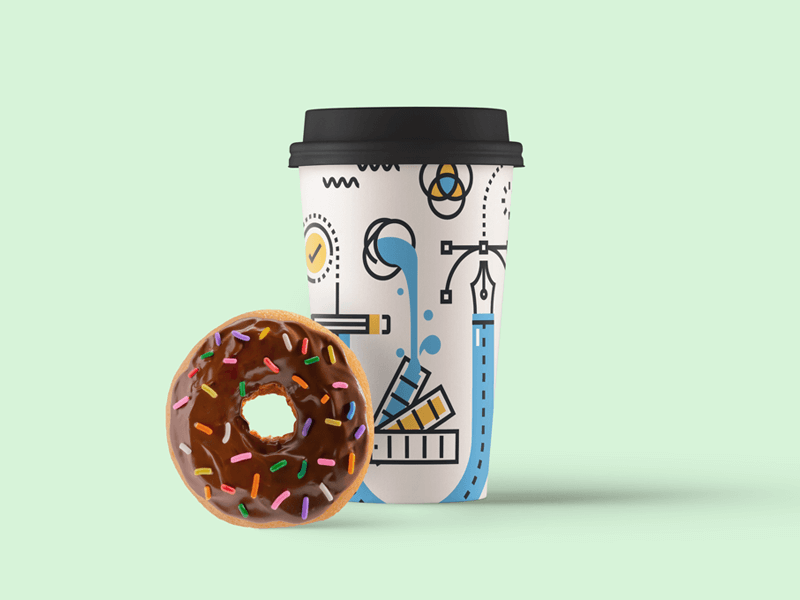 Paper Coffee Cup Mockup with Donut