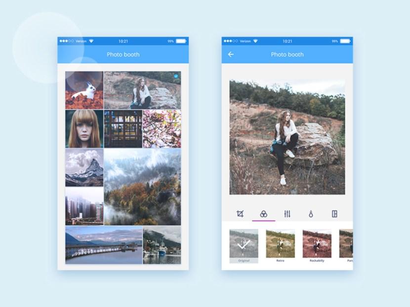 Photo Editing App UI PSD