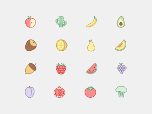 Free Plants and Fruit Icon Set