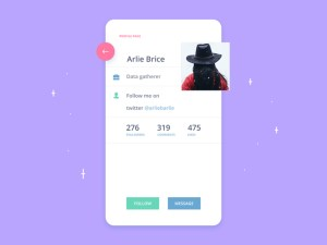 Free Profile Screen App UI PSD