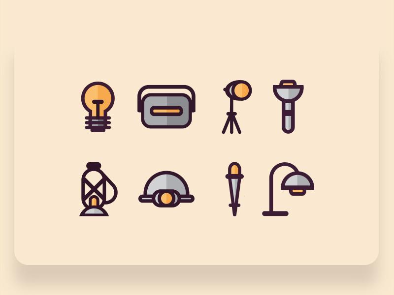 Retro Flat Style Icons