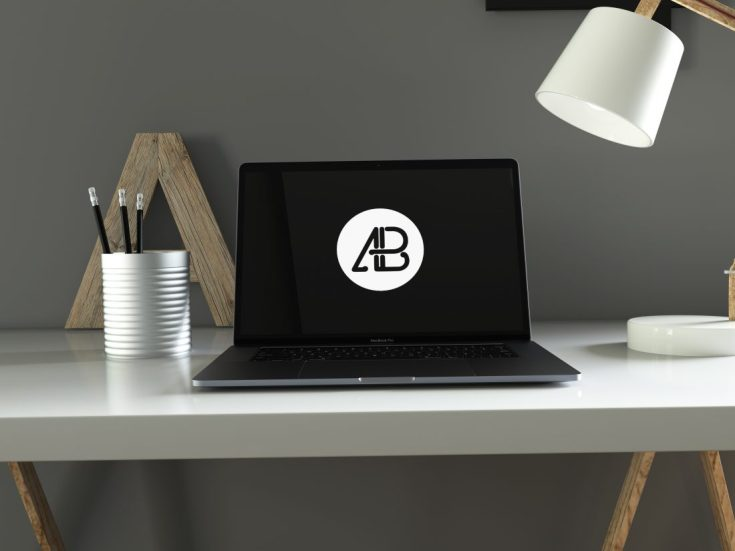 Free Space Gray MacBook Pro Mockup PSD
