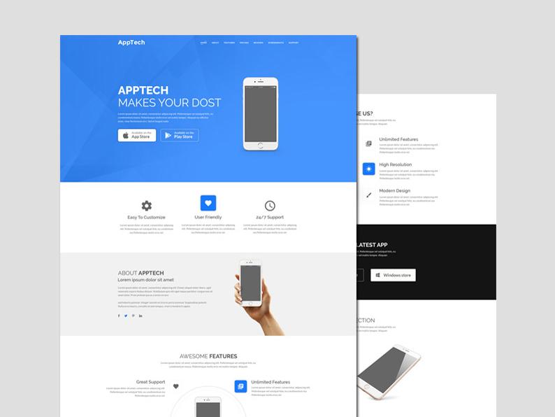 Apptech Free App Landing Page template