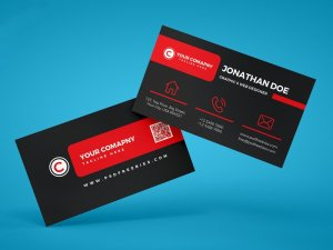 Free Black Red Business Card Template