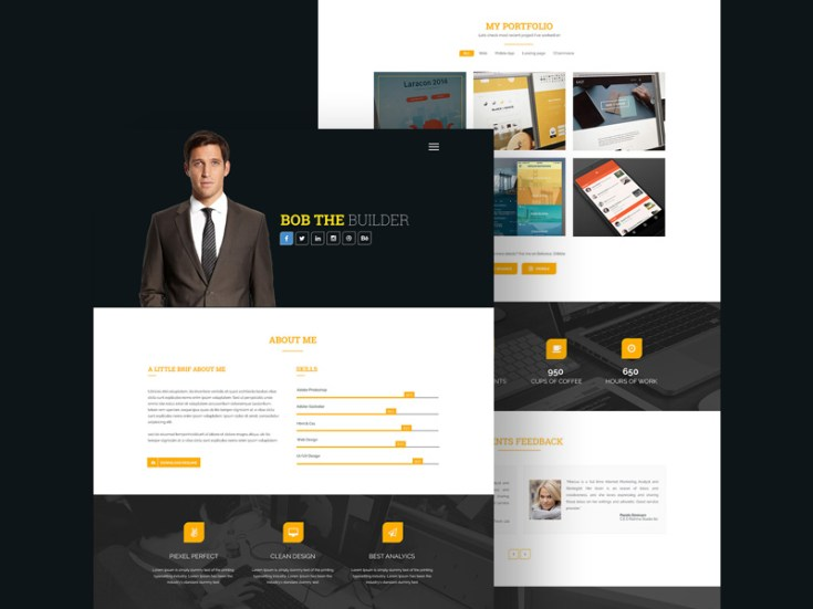 Bob the Builder : Resume Portfolio PSD Template