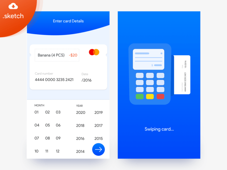 Free credit Card Payment UI Sketch