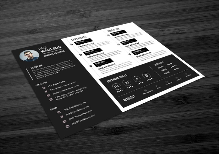 Free Horizontal Resume Template - Free Download | Freebiesjedi