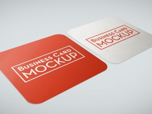 Free Rounded Square Business Card Mockup