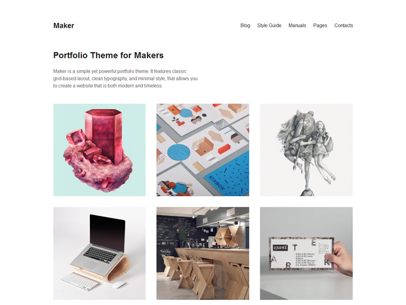 Maker : Minimalistic Portfolio WordPress Theme