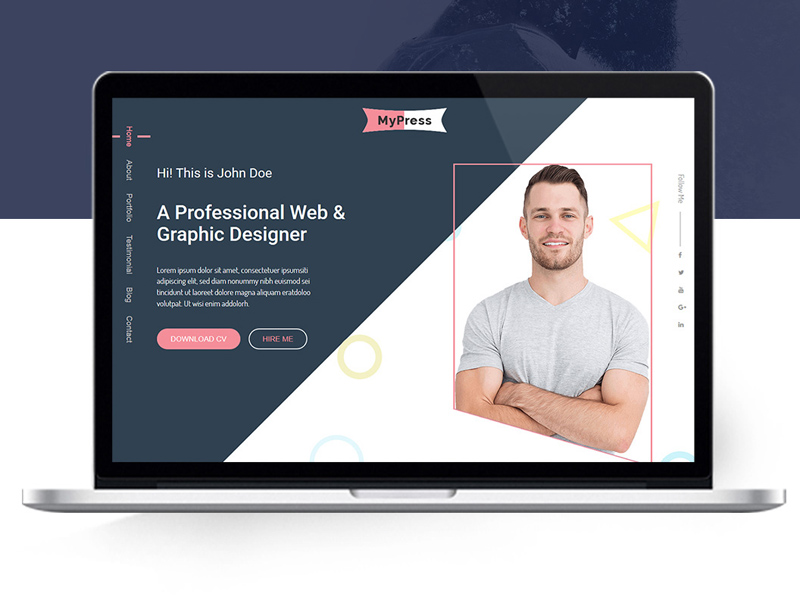 MyPress : Free CV/Resume PSD Web Template
