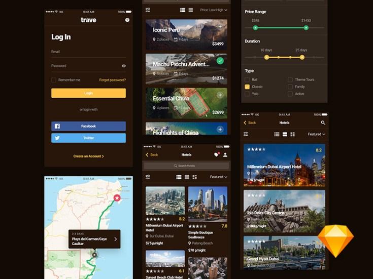 Free Travel App UI Kit
