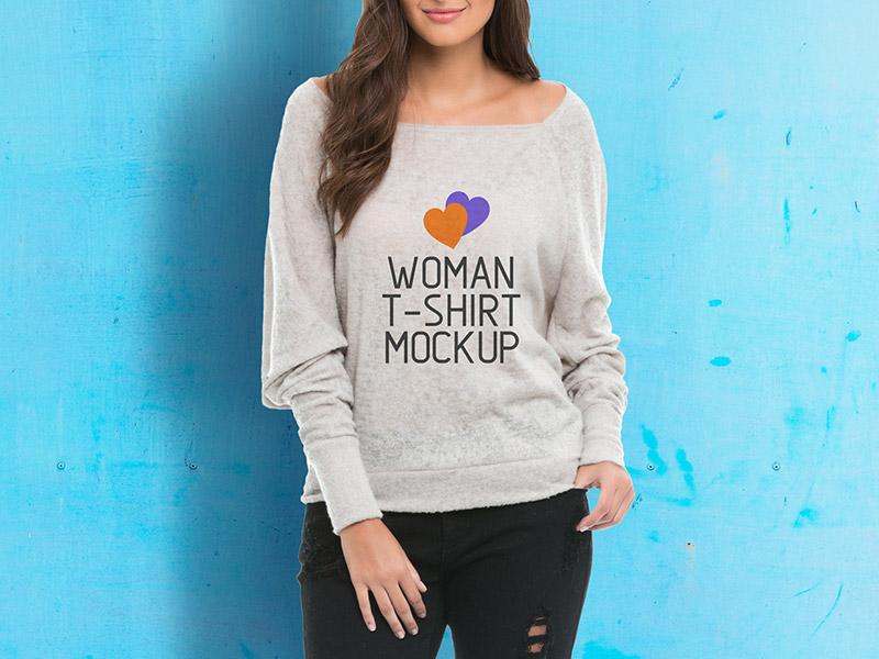 Elegant Woman T-Shirt Mockup