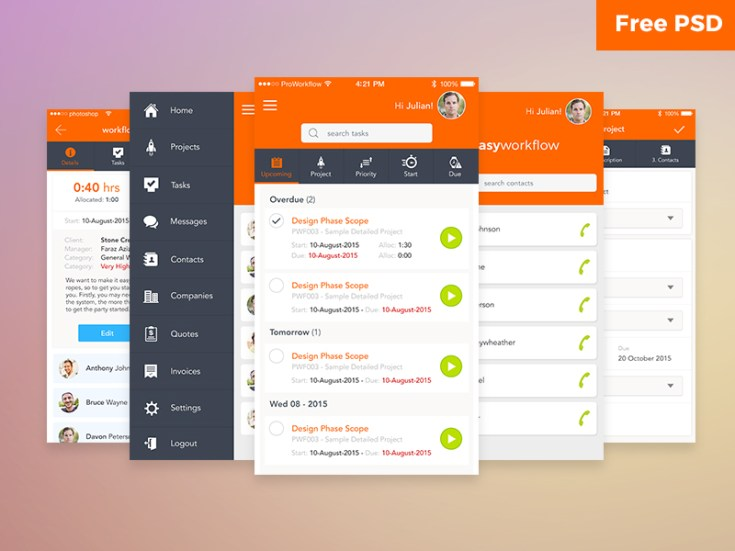 Free Workflow App UI Kit PSD