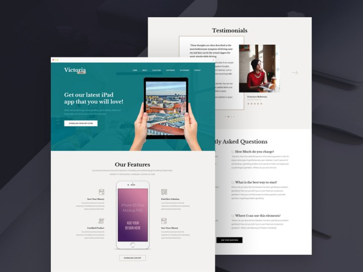 Victoria : Clean Landing Page PSD Template