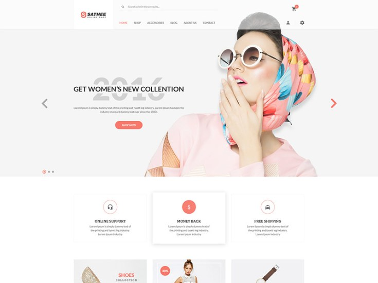 Sathee – Free Fashion eCommerce PSD Web Template