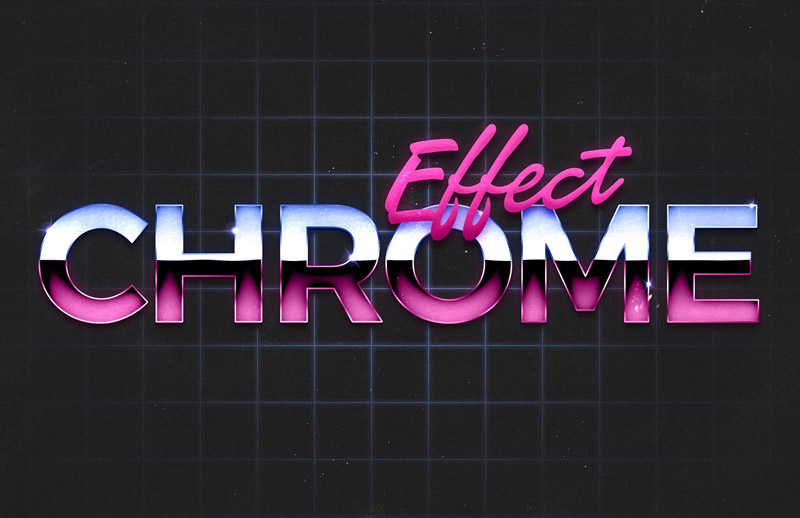 80's Retro Chrome Text Effect