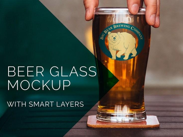 Free Beer Glass Mockup PSD
