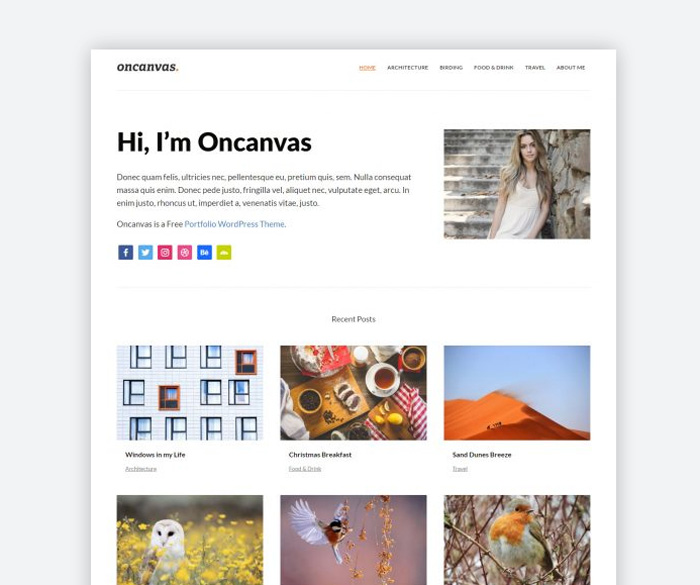 Oncanvas : Free Minimal Portfolio WordPress Theme