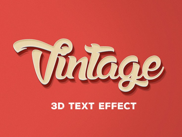 3d Retro Text Effect PSD