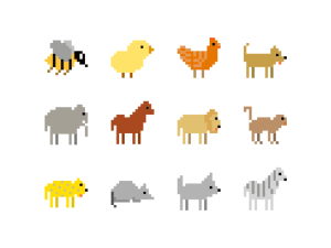 Free Animals Pixel Art Icon Set