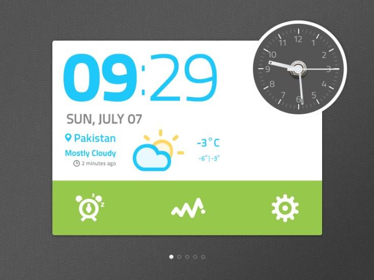 Free Clock Widget UI PSD