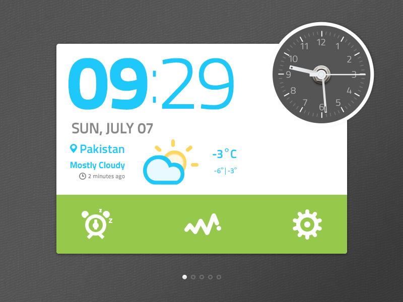 Clock Widget UI PSD