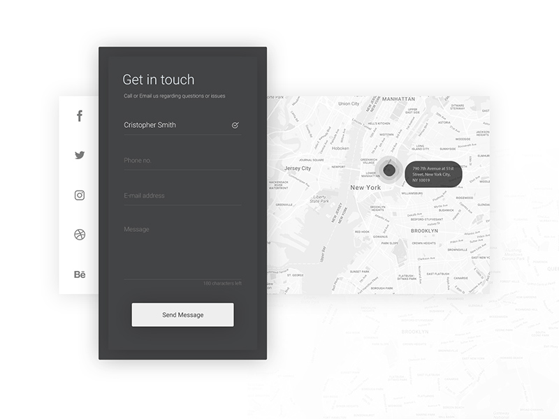 Contact with Map UI PSD