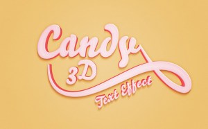 Free 3D Candy Text Effect PSD