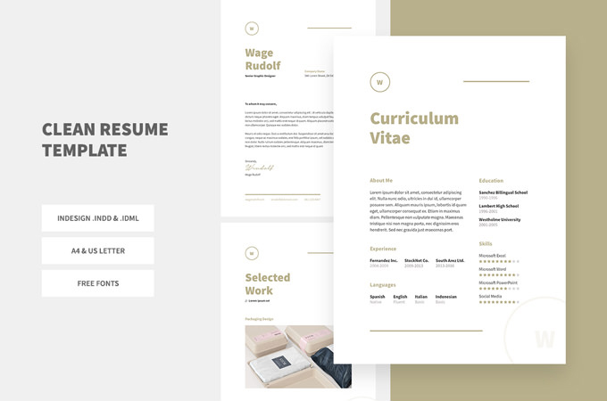 free resume template creative indesign cs3