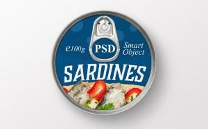 Free Sardine Can Packaging Mockup