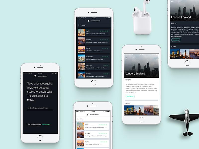 Hummingbird – Travel App UI Kit