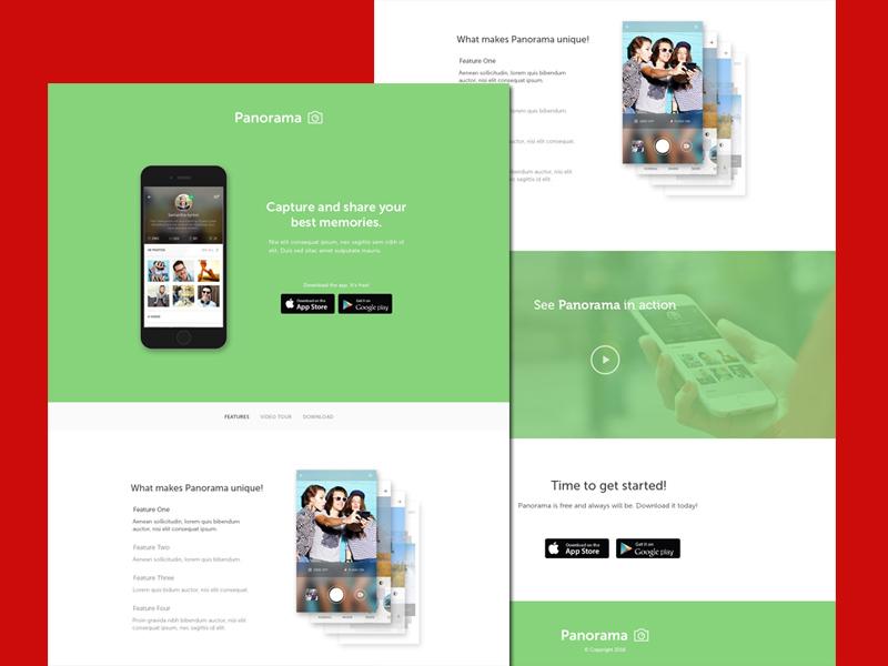 Panorama – Mobile App Landing Page PSD Template