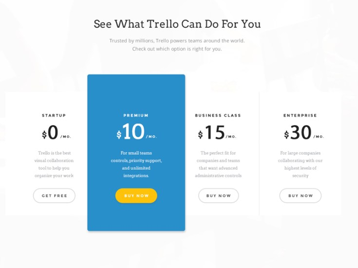 Plans and Pricing Table PSD