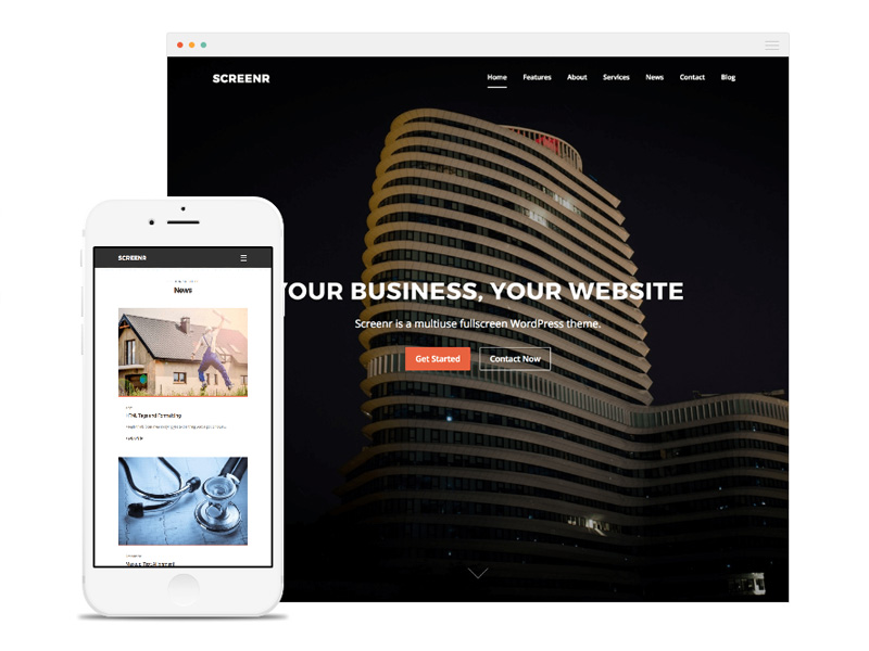 Screenr – Free Fullscreen Parallax WordPress Theme