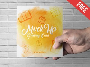 Free Square Greeting Card Mockups