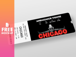 Free Ticket Mockup PSD Template