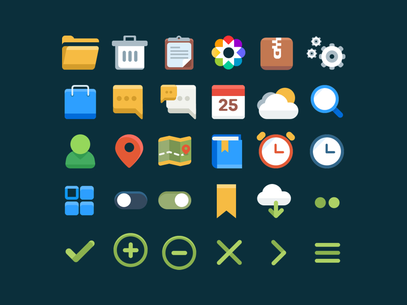 30 Free Flat Icons for Designer