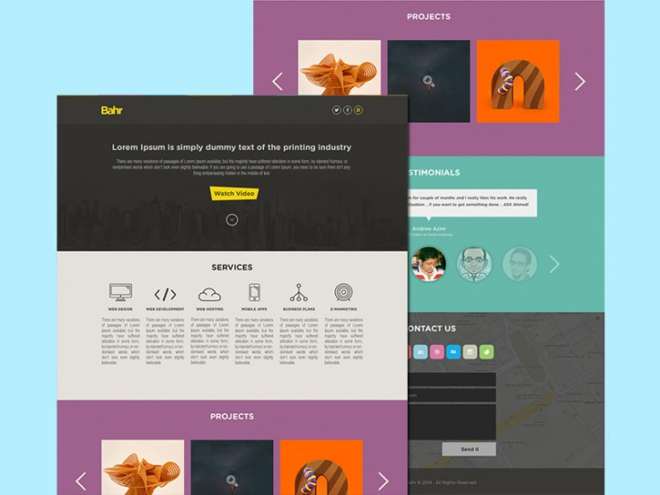 Bahr - One Page PSD Template
